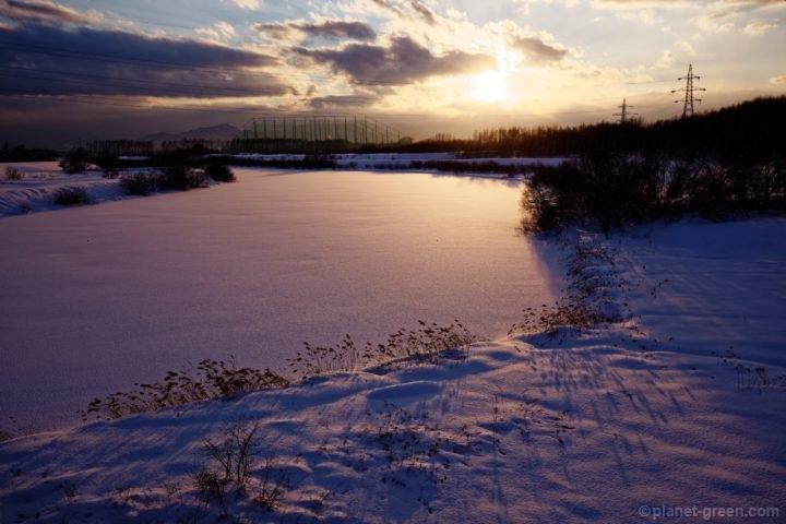 I冬のモエレ沼公園の夕日