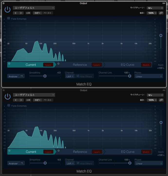 Musicmanスティングレイの改造前と改造後の周波数特性を比較