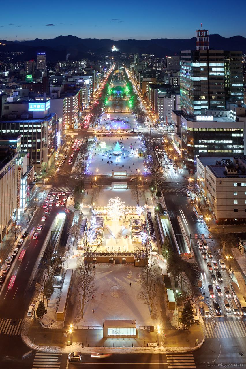 テレビ塔から見た大通公園のホワイトイルミネーション