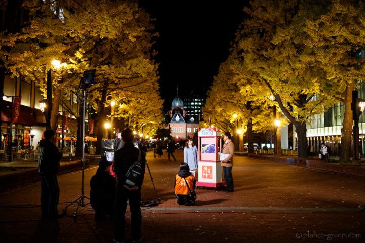 札幌市・北3条広場の銀杏並木で『今日ドキッ』の収録をしている光景