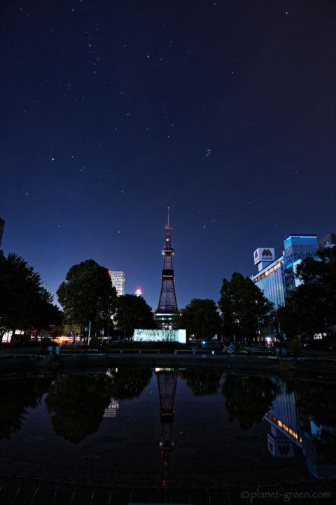 北海道地震に伴う大停電の夜/大通公園とテレビ塔と星空